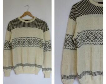 Sale Mens Vintage Sweater / Vintage Wool Blend Sweater / 1980's Mens Sweater / Mens Italian Sweater / Vintage Mens Ski Sweater S/M