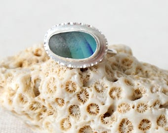 Blue and Green Striped English Multi Sea Glass Stacker Ring, Size 6 - Genuine Sea Glass, Natural Sea Glass - Sterling Silver