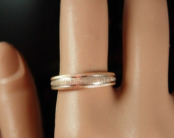 French wedding band 14KT GOLD wedding ring Vintage yellow white GOLD womens Ring Size 7 3/4 band  ring