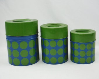 Vintage 60s Counterpoint Japan metal blue green polka dot kitchen canister set of 3