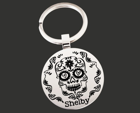 Sugar Skull | Monogram Keychain | Graduation Gift | Promotion Gift | Friend Gift | Custom Personalized Key Chain | Korena Loves