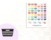 Two Dollar Tuesday Laundry Basket Stickers, 52 Planner Stickers, Calendar Reminder, Laundry Day