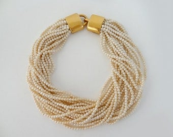 Stunning Carolee Multi-Strand Pearl Choker Necklace