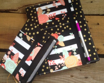 Striped floral and black with gold polka dot Ministry Folder and NWT Bible cover