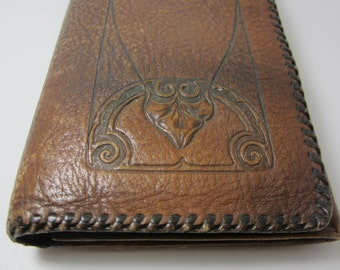 Arts and Crafts misson style 1910s ladies leather wallet tooled purse vintage clothing