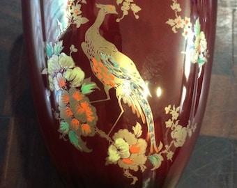 Carlton Ware Rouge Royale Vase Lustre Enamel Gold Bird Flowers Vintage