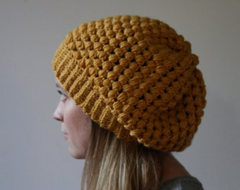 Puff stitch hat, Women's and teen's winter hat, Crocheted Hat