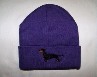 Dachshund Purple Beanie - Cap - Hat