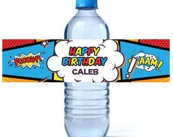 Superhero Birthday Water Bottle Labels - Birthday Water Bottle Label - Personalized Water Bottle - Superhero Party - Superhero