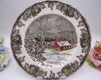 "Vintage Johnson Bros Staffordshire ""Friendly Village The School House"" Dinner Plate"