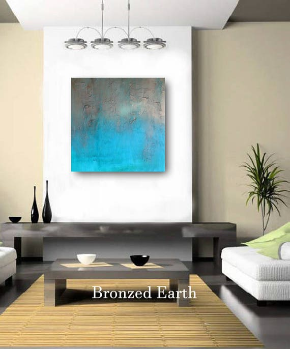 Large Painting Wall Art Painting Living Room Original Modern Abstract Cradled Wood Panel Textured Turquoise Blue Bronze Metallic Sculptural