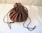 Brown leather pouch, leather drawstring bag, mid century, bags and purses, 50s 60s, hippie pouch, gift for him