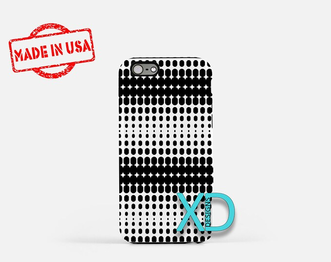 Gradient Phone Case, Gradient iPhone Case, Dotted iPhone 7 Case, Black, White, Dotted iPhone 8 Case, Gradient Tough Case, Clear Case