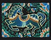 Horse Folk Art Print, Wall Art, Home Decor, 6x8