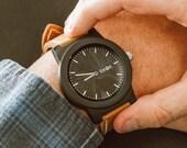 Mens Wood Watch, Leather Strap Wood Watch, Genuine Sandalwood Watch - BRLY-L