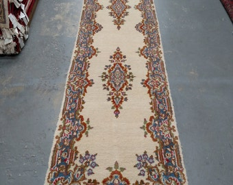 Persian Rug - 1970s Vintage, Hand-Knotted, Kerman Runner (3520)