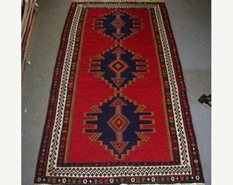 YEAR END CLEARANCE 1970s Vintage Flatweave Shiraz Kelim Persian Rug (2545)
