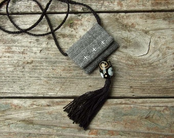 Textile pendant with glass bead and tassel, Soft Cotton fabric jewelry, Boho Retro style, Minimalist necklace, Black white, Lampwork glass