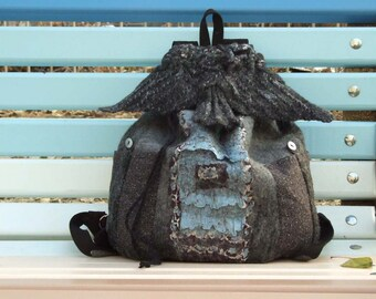 """Unique Fantasy Backpack with wings """"The Dove"""", Gray black blue, Hand felting, Cotton fabric and wool, City backpack, Boho, Gray Bird, Unisex"""