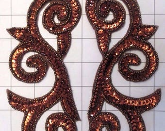 """Pair of Mirrored Brown/Bronze Beaded Sequins Appliques Sew on 7"""" by 4"""""""