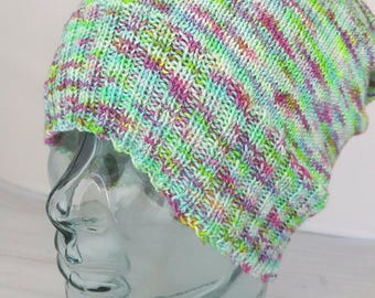 Hand knit wool sockhead hat