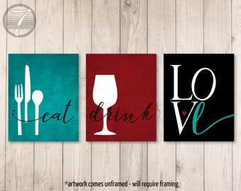 Kitchen Wall Art Print Set, Eat Drink Love Utensils Wine // Teal, Burgundy, Black // Modern Kitchen Art // Set of (3) Many Sizes // Unframed