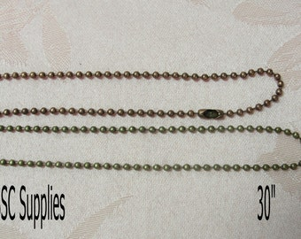 """20- Ball Chain Necklaces 30"""" length - 2.4mm, Antique Brass Chain, Antique Copper Chain, Jewelry Necklace Chain"""