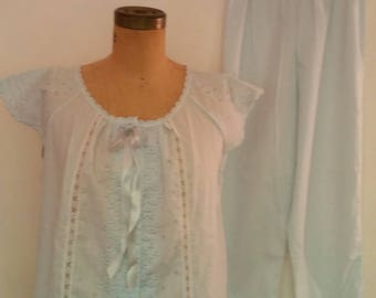 Vintage 2 Pc Pajama Set Top/Bottom, Light Blue Cotton Blend, Eyelet and Lace Design 1960's Summer Pajamas Made by Schrank Size 34 Top/Bottom