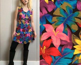 VNTG tropical floral mini summer dress sleeveless hawaiian