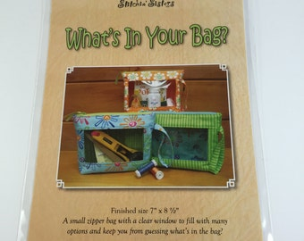 What's In Your Bag? Pattern - Stichin' Sisters - Zipper Bag with a Clear Window - Sewing Project - DIY Bag - Great Gifts - Pattern