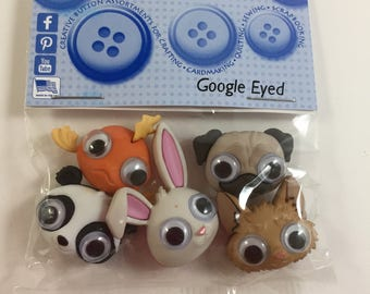 Googled Eyed Buttons - Dress It Up - Animal Buttons - Humorous Buttons - Big Google Eyed Animal Buttons - Shank Buttons - Set of 5 Animals
