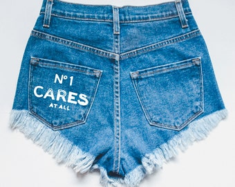 No One Cares Denim Distressed Ripped Blue Shorts