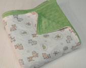Minky Flannel Extra Large Baby Blanket - Jungle Toss