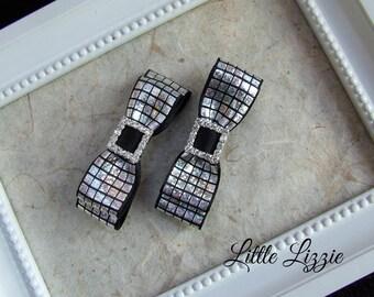 Black and silver hair clips, Black bows, girl gift, party bows, hair clip pair