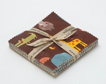 """Giraffe Crossing 2 Charm Pack 5"""" Stacker Pre-cut Quilt Squares Fabric by Riley Blake"""
