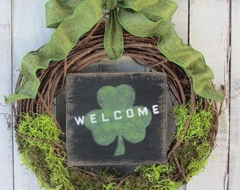 Spring Wreath, St Patricks Day Wreath, Irish Wreath, Green Wreath, St. Pattys Day, Irish Decor, Welcome St Patrick Wreath, Rustic Wreath