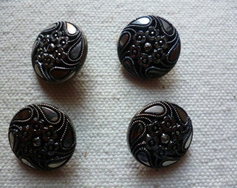 Vintage Buttons.4 Antique Victorian . French Black Glass Buttons,