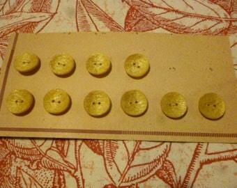 Vintage Buttons. 10 Lemon 1960s Plastic Textured Finished Buttons.