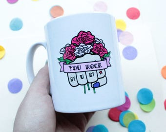 Mum Mug Gift For Her Rockabilly Tattoo Design With Red Roses