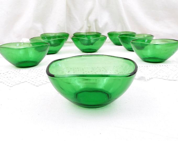1 Vintage Mid Century French Vereco Green Glass Bowl, Ramekin, Sugar Bowl, Home, Kitchenalia, Retro, Design, Acropal, 1960, Kitchen, Decor