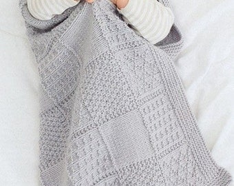 BABY KNITTING  PATTERN   for stunning baby blanket dk yarn 25 x 27 in