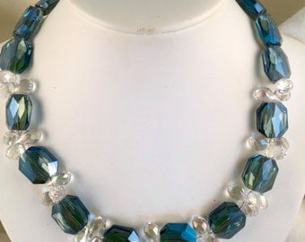 Blue Crystal Necklace, Bling Necklace, Choker Party Necklace, Blue Emerald Cut Crystal Necklace, Festive Crystal Necklace