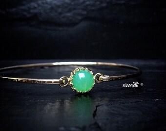 Genuine Chrysoprase Bangle Bracelet / 14k Gold Filled or Sterling Bangle / Green Chalcedony Bangle / Gemstone Bangle / Gift for Her