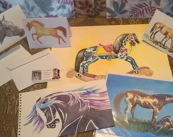 Horse Lover's Grab Bag Deluxe- horse art, equine note cards, prints and more! only 1 dollar for shipping.