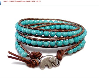 SALE - 25% Off Original Price Premium Turquoise Leather Wrap Bracelet with Silver Lucky Elephant Button, Boho, Bohemian - JEWELRY