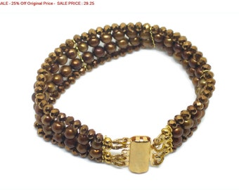 """SALE - 25% Off Original Price Gold Plated and Copper Czech Bead Bracelet, Size 7""""."""