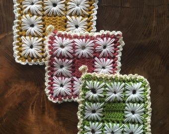 Handmade crochet pot holders set lace