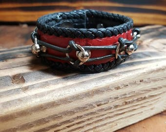 Red and black leather cuff