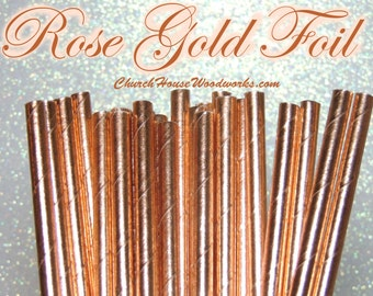 25 Rose Gold  Copper Paper Straws: Wedding, Baby Shower, Birthday Party, Bridal Shower, Wedding Venue, Table Decor, Rose Gold Decor