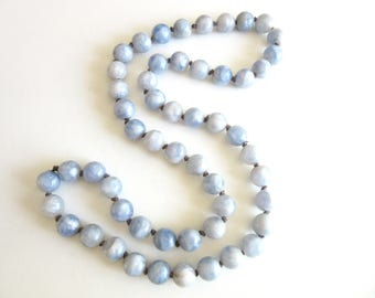 Long Marbled Resin Bead Necklace Single Strand Sky Blue & White Individually Knotted 32 Inches